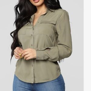 Tops - Olive Green Button Up Top